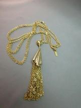 """VTG Monet Tassel Necklace Double Multi Chain Designer Gold Plated 28"""" Long image 2"""