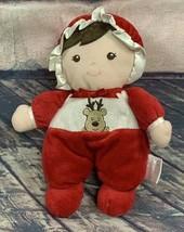 """8"""" Prestige Baby Christmas Reindeer Plush Rattle Brown Hair Baby Doll  - $18.99"""