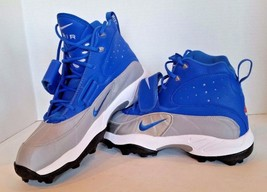 Nike Mens Zoom Air Pro Shark Football Sport Cleats 534768 411 Blue Silver Sz 14 - $49.95