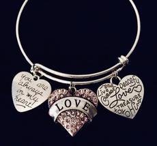 Women's Charm Bracelet Pink Crystal Love Heart Expandable Adjustable Ban... - $29.99