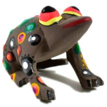 Handmade Oaxacan Copal Wood Carving Painted Folk Art Brown Frog Toad Figurine image 4