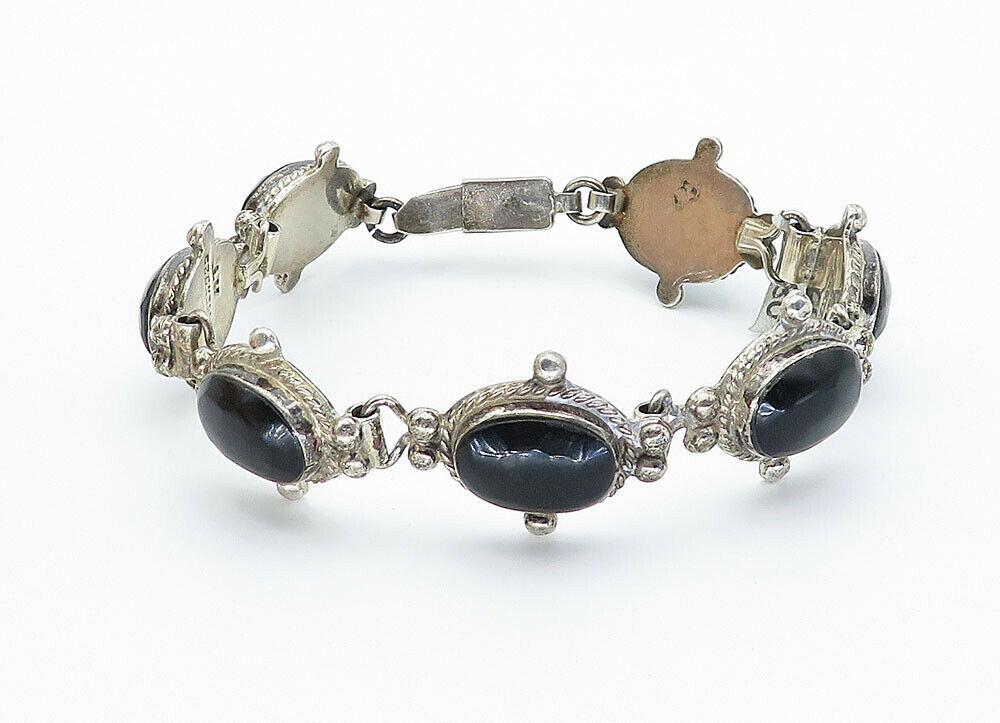AT MEXICO 925 Silver - Vintage Cabochon Black Onyx Twist Chain Bracelet- B5954