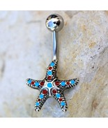 316L Stainless Steel Colorful Starfish Navel Ring - $13.56+