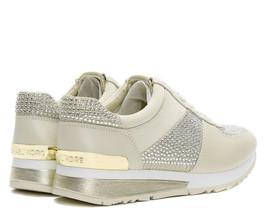 Michael Kors MK Women's Allie Wrap Trainer Glitter Sneakers Shoes Pale Gold image 2