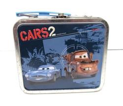 "CARS 2 Finn McMissile Tin Mini Lunch Box Storage Disney Pixar 5.5""Wx4.5L... - $29.95"