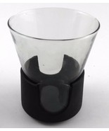 Corning GLAS-SNAP Vintage 1970s 8oz Glass with Black Plastic Holder Coaster - $7.05