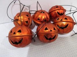 Halloween Pumpkin Orange Mini Bell Tree Ornaments Decorations Set of 6 - $9.99