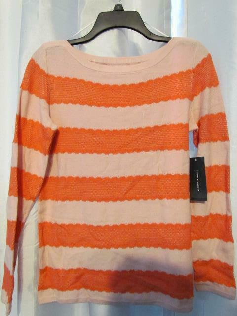 Primary image for NWT Tommy Hilfiger Long Sleeve Striped Sweater Chalk Pink S & M Org $69.50