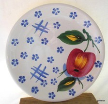 """Ancora Italy Dinner Plate Fruit Apple and Blue Flowers 10.5"""" - $12.00"""