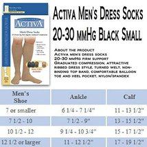 Activa 20-30 mmHg Men's Firm Support Dress Socks, Black, Small - $20.99
