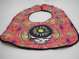 Reversible Baby Bib - Multi Tie Dye Stealie Flower Grateful Dead Print -... - $12.99