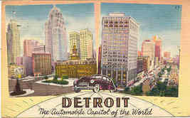 Detroit MoTown Auto Capitol of The World  Vintage Post Card - $6.00