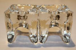 Juhava Ri-Jalka Set of 2 Clear Glass Napkin Candle Holder Timo Sarpaneva... - $30.12