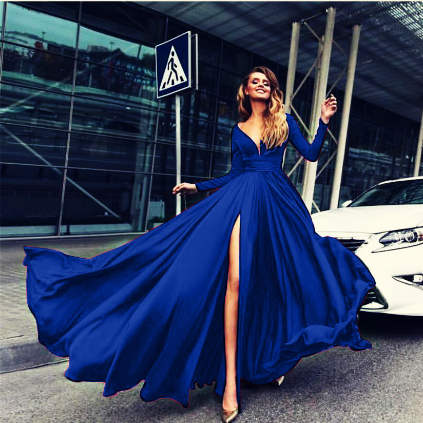 Royal Blue  V-Neck Front Slit Long Prom Dress  Sleeve Summer Women Party Gowns