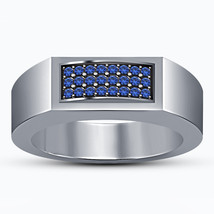 Blue Sapphire Mens Anniversary Simple Band Ring 14k White Gold Finish 92... - $84.99