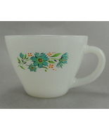 Anchor Hocking Fire King Blue Floral White Glass Cup - $5.25