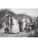 VILLAGE WEDDING Procession Happy Sunday - 1888 Fine Antique Print - $21.60