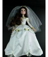 """VINTAGE PORCELAIN BRIDE DOLL Brunette 14"""" Dress Wedding - $20.78"""