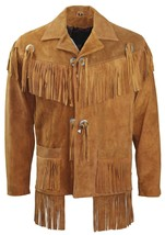 Men's New Tan Western Native American Suede Leather Fringe Jacket FJ41B - $117.00+
