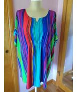 Denim 24/7 Womens Top Blouse Shirt 24W Multi Color Striped Colorful Rain... - $26.99