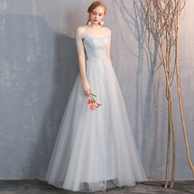 Floor Length Maxi Bridesmaid Dresses Tulle Wedding Dress Light Gray Off Shoulder image 2