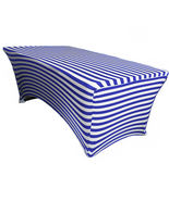 Table Cover Royal Blue/White Striped Stretch Spandex Fitted 6 Ft Rectang... - $52.99