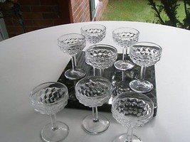 FOSTORIA  8 GLASSES CHAMPAGNE, SHERBERT AMERICAN BLOCK VINTAGE - $39.99