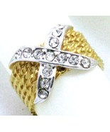 VINTAGE 18k GF. filigree silver X COCKTAIL RING SZ 9 - $16.99