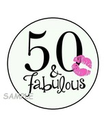 """(30) 50TH BIRTHDAY ENVELOPE SEALS LABELS STICKERS 1.5"""" ROUND FAVORS FABU... - $4.99"""