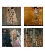Gustav Klimt Ceramic Tile Set Of 4 Art Decorative Coaster Backsplash Tiles - $47.49