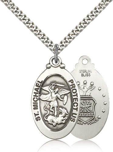 Air force medal pendant   sterling silver st. michael medal and chain