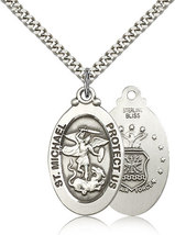 Air Force Medal Pendant - Sterling Silver St. Michael medal and chain