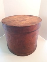 "Large Antique Vintage Round Wooden Box - 15"" x 12.5"" Container Sewing Pantry image 2"