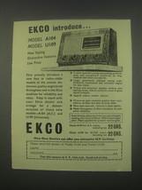 1949 Ekco Model A104 and U109 Radios Ad - Introduce - $14.99