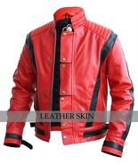 Michael Jackson Red Black Thriller Premium Genuine Leather Jacket Costume - $179.99