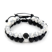 Adjustable 2Pcs/Lot Beaded Bracelets Bangles Set Natural Lava,Howlite St... - $9.52