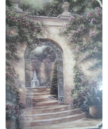Homco Home Interiors Courtyard Fountain Picture By B. Brown Pink Roses  - $125.00