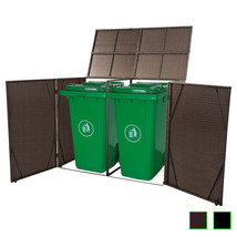 vidaXL Double Wheelie Bin Shed Poly Rattan Garden Bin Storage Cover 2 Co... - $112.99