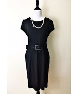 H&M Dress Size 12 Black Cap Sleeve Collar Vintage Style - $30.48