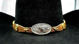 HATBAND I HEART BULLRIDER Scalloped Brown Leather w STAR Conchos Cowboy ... - $28.97
