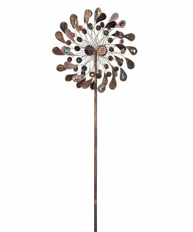 "84"" Copper Finish Flower Design Wind Spinner Garden Stake Triple Pronged Metal"