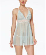 Betsey Johnson Women's Eyelet Mesh Babydoll with G-String in Betty Blue, XS - $28.70