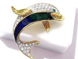 SILVER TONE DOLPHIN FISH PIN ENAMEL RHINESTONES SIGNED A S FIGURAL VINTAGE - $24.00