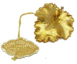 Vintage Leaf Brooch Made In Austria Vienna Wood Leaves 24 karat kt Gold ... - $11.95