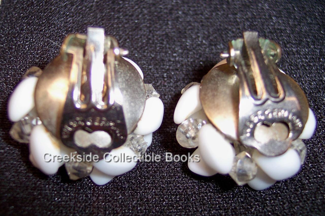 Vintage Milk Glass Bead Clip-On Earrings West Germany