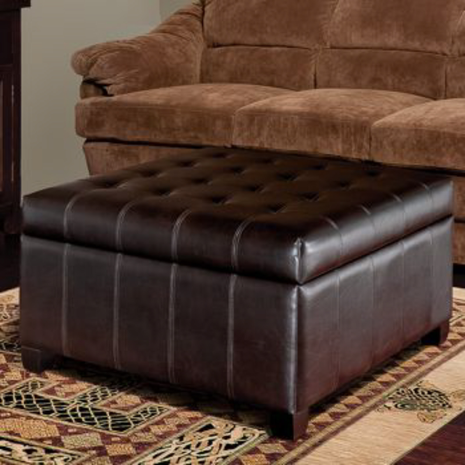 Isabella bonded leather storage ottoman new living room for Footstool living room