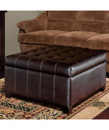Isabella Bonded Leather Storage Ottoman - New -Living Room Furniture, Fo... - $339.99