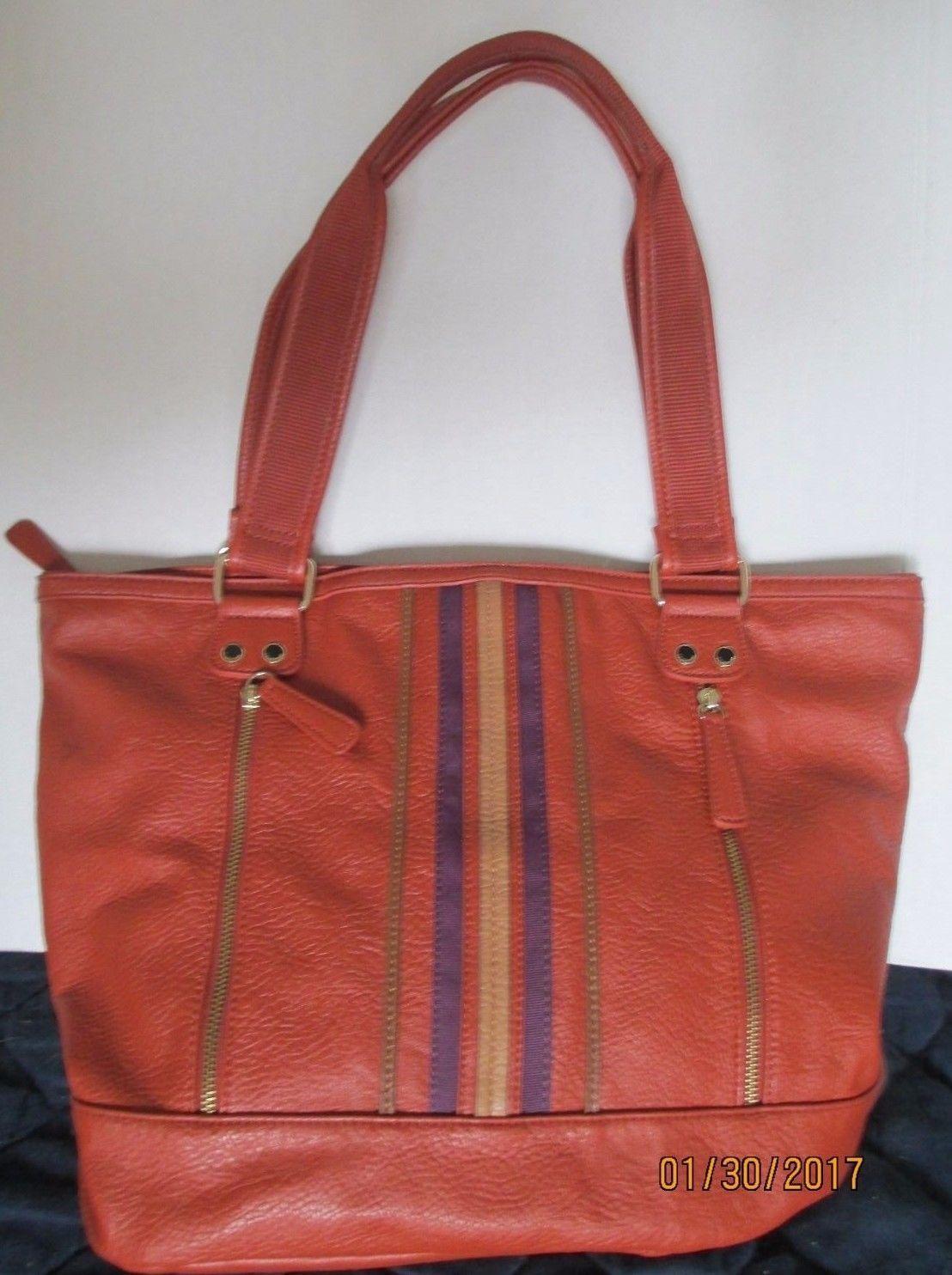 Tyler Rodan Spruce Ex Lg Burnt Orange Tote Handbag Purse 49 50
