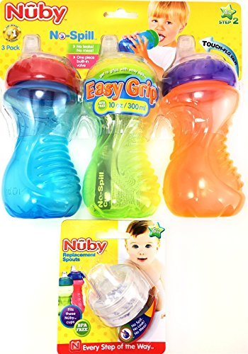Nuby No Spill Easy Grip 10 Oz Sippy Cups 3 Pack Plus 2 Pack Replacement Silicone