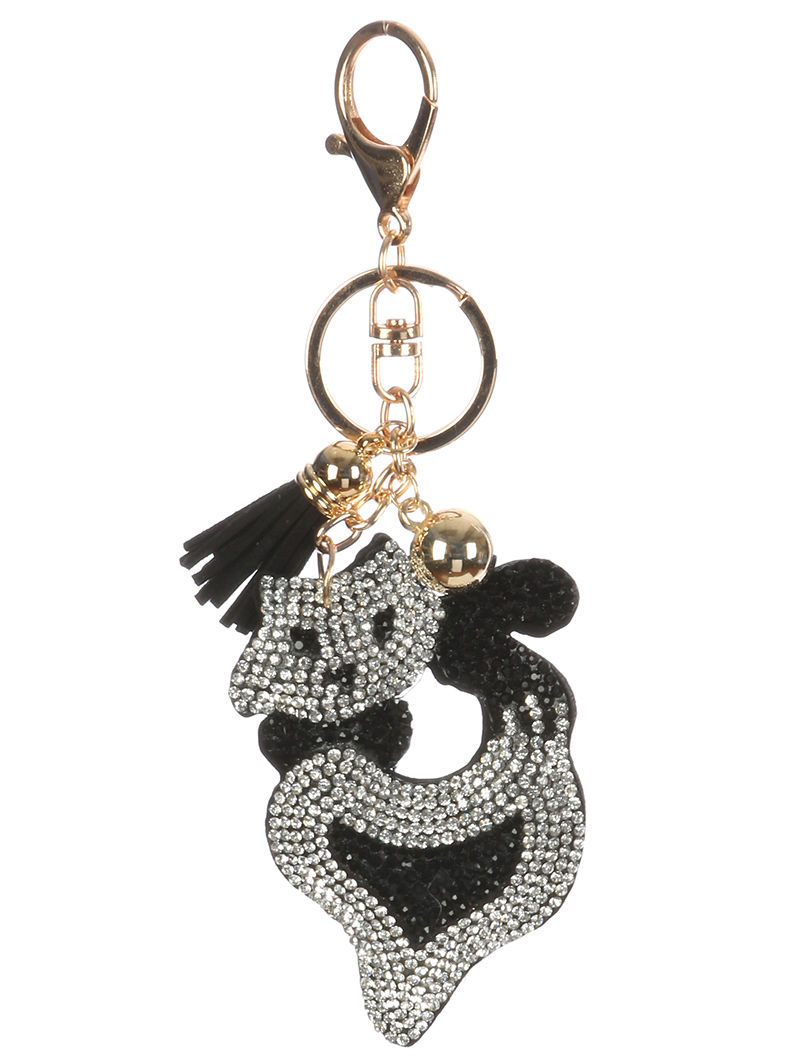 Tassel Bling Pave Crystal Cat Pillow Key Chain Handbag Charm Key Fob